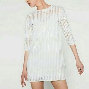 NWT Zara Collection white sequin dress medium